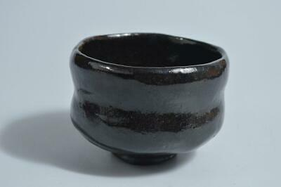 T4634: Japanese Raku-ware Black glaze TEA BOWL Green tea tool Tea Ceremony