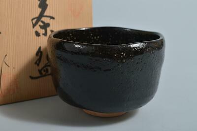 T4985: Japanese Raku-ware Black glaze TEA BOWL Green tea tool, auto w/box