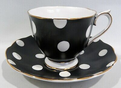 Vintage 1930s Royal Albert CUP & SAUCER WHITE POLKA DOTS on MATTE BLACK EXC COND