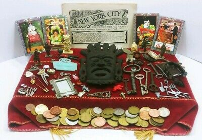 Vtg Junk Drawer Lot Cast Iron Mask Pewter Miniatures Keys Tokens Jewelry Toys