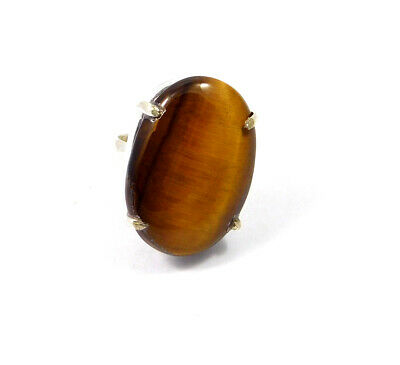 Tiger's Eye .925 Silver Plated Handmade Ring Size-6.75 Jewelry JC10283