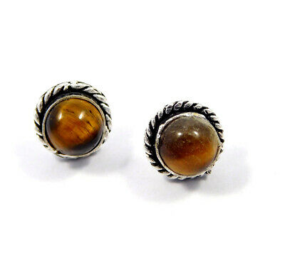 Tiger's Eye .925 Silver Plated Handmade Stud Earring Jewelry JC8199