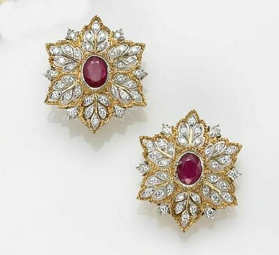 1.50ct NATURAL ROUND DIAMOND 14K SOLID YELLOW GOLD RUBY GEMSTONE STUD EARRING