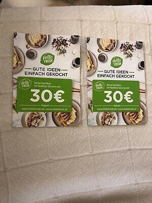 30€ Hello Fresh Gift Card Coupon 2 Cards Total €60 Value Deal