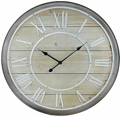 Extra Large Wooden Wall Clock Roman Numeral Round Rustic Shabby Chic Clocks 80cm