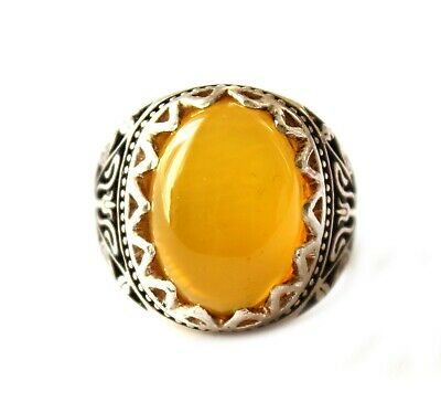 Islamic SHARAF SHAMS With TALISMAN China Agate Men Ring Silver Plated Size 10.5