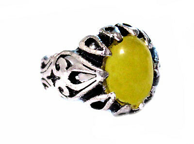 Islamic SHARAF SHAMS With TALISMAN China Agate Men Ring  With Silver Plated