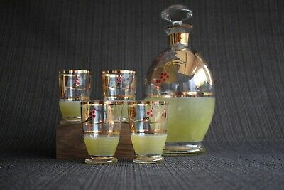 Vintage Czech Glass DECANTER with 4 shot glasses