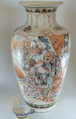 Very Large Antique Meiji Period Japanese Satsuma Vase