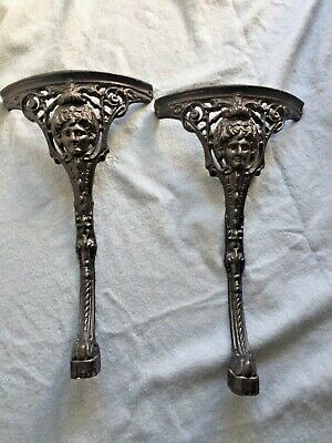 Architectural Salvage Original Cast Iron Ornate Table Legs x 2 In Black