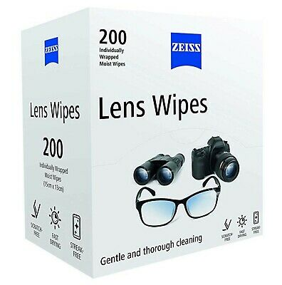 ZEISS Optical Lens cleaning Wipes for Glasses Camera Screens Pack of 200 WIPES