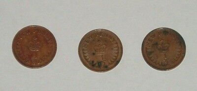 BRITISH HALF NEW PENNY COINS x 3 (1/2p) - ELIZABETH II CIRCULATED - c1971/75/79