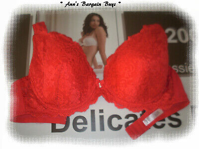 Women's Size 20DD-Floral-Lace covered-Full Figure-Padded-U/W Bra-Red-NWOT
