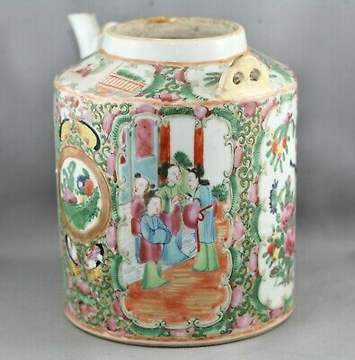 Superb Antique Chinese Qing Dynasty Famille Rose Porcelain Teapot c1850s