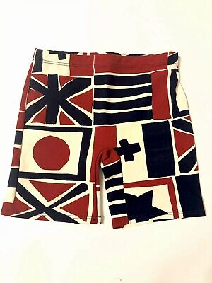 Vintage 60's Men's Surf Swim Shorts Bold Flag Print Fire & Ice By Jantzen