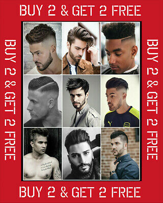 35 Mens Hairstyle Poster Hair Salon Barber Hairdresser Styles Wall Art Size A3