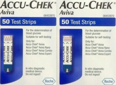 Accu Chek 2 X 50 Test Strips For Blood Glucose Monitors Expiry 31/7/20 Free Post