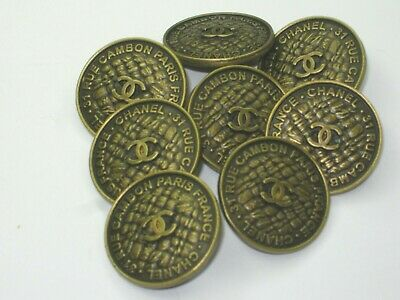 Chanel 8 Bronze  Vintage Buttons  19 Mm Cc Logo  Rue Cambon  New  Lot 8