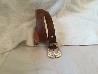Semental Western Leather Brown Belt with Longhorns Buckle 24