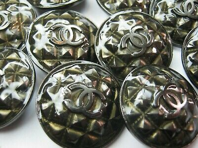 Chanel 10 Quilted  Dark Silver Buttons  26Mm Large Cc Logo   New  Lot 10