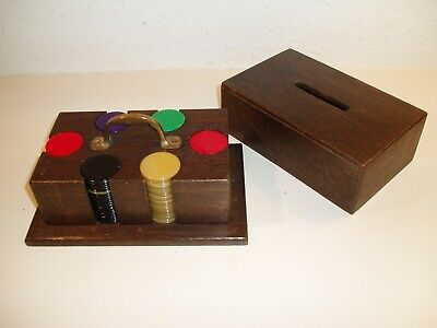 Vintage Oak Cased Gaming Counters Poker Chips
