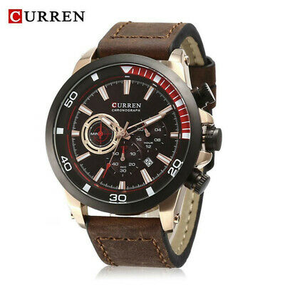 NEU Curren Herrenuhr Chronograph Armbanduhr Datum Leder Military Business Sport
