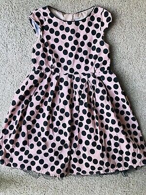 Girls Beige With Black Spots Party Dress Age 6 Years From Next