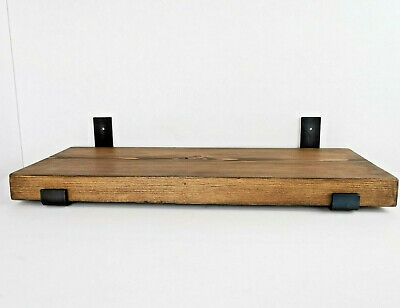 Industrial Rustic Wooden Shelves  x 2 Brackets Polished Beeswax 9 Colours