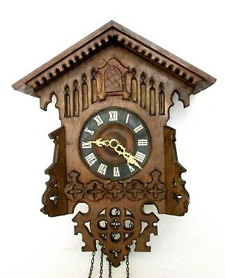 Antique Gordian Hettich Ghs Black Forest Cuckoo Clock, Carved Wood, Working Well