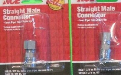 """Lot of 4 ACE #40321 Straight Male Connector Inlet 3/8"""" MIP x Outlet 3/8"""" OD"""