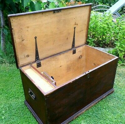 Old Pine Chest Trunk Blanket Box Fabulous Antique Victorian c1850