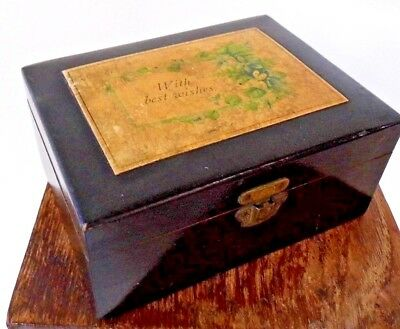 Victorian jewellery trinket wood BOX best wishes antique