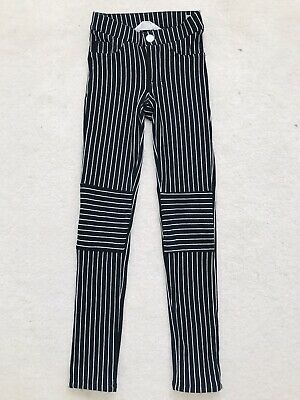 Girls Black Striped Skinny Treggings Age 8/9 Yeats From H&M