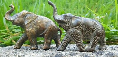 PAIR OF ANTIQUE BRONZE OR BRASS ELEPHANTS One signed