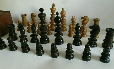 Impressive Antique Early 19th century Boxwood Chess Set Complete, Large pieces