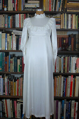 Vintage White Satin Wedding Gown Ruffles Long Sleeves Full Length Dress X Small