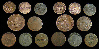 German States - Lot of 8 different coins