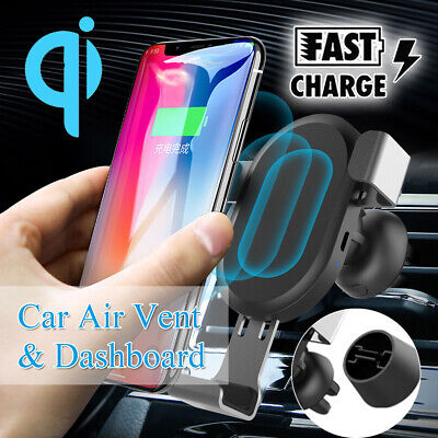 QC3.0 Qi Charge Rapide Sans Fil Chargeur Voiture Support Pr iPhone Samsung GPS
