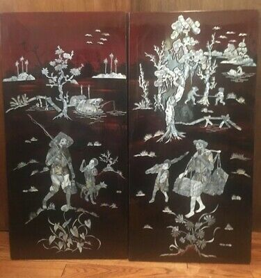 VTG Pair of Cherry/Dk Brown Wood Lacquer Mother of Pearl/Abalone Wall Art Panels
