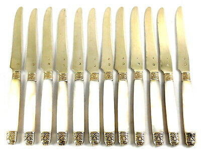 Superb Set of 12 KNIVES in French Sterling Silver and Mother of pearl in a box
