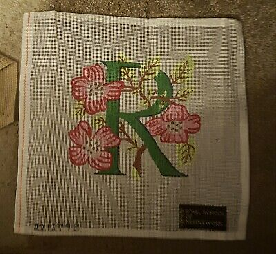 Royal School of Needlework tapestry sewing canvas initial R with flowers