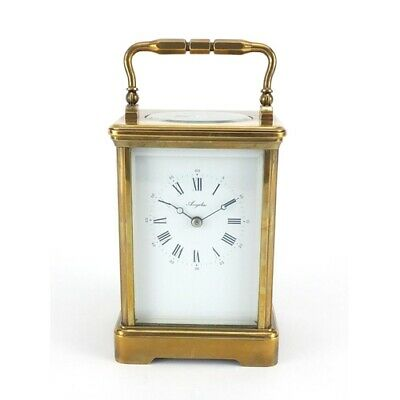 Large French brass cased carriage clock by Angelus