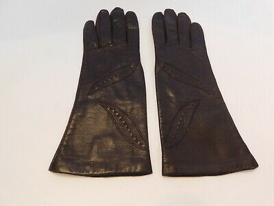 *Fownes Ladies Dark Brown Leather Gloves Antron Lining Size 7.5