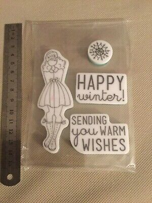 Julie Nutting Cling Rubber Stamps-doll Winter Girl Mixed Media  10cm  Tall