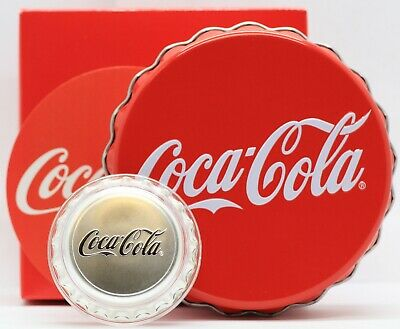 2018 Coca-Cola Bottle Cap 1 oz Silver Coin Fiji $2 Dollars 999 Coke Box & COA