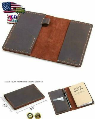 Leather Journal Cover for Field Notes Moleskine Cahier Cover Handmade Vintage US