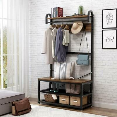 Walnut Metal Wooden Hall Tree Storage Stand Entryway Bench Coat Rack Clothes Bar