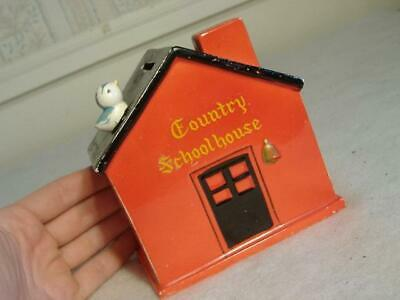 Vintage LeGo Japan COUNTRY RED SCHOOLHOUSE SCHOOL HOUSE STILL COIN BANK Ceramic