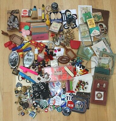 Vintage Junk Drawer Items Lot Toys Jewelry Military Art Odds N Ends 7 Lbs