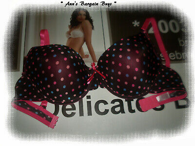 Women's-Size 18DD Smooth-Spotted-Padded-Plunge Bra-Multi colour/Black-WOW!!-NWOT